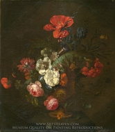 Flowers in a Stone Vase painting reproduction, Jan Van Huysum