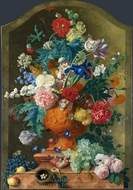 Flowers in a Terracotta Vase painting reproduction, Jan Van Huysum