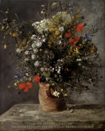 Flowers in a Vase painting reproduction, Pierre-Auguste Renoir