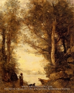 Flute Player at Lake Albano by Jean-Baptiste Camille Corot