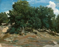 Fontainebleau: Oak Trees at Bas-Breau painting reproduction, Jean-Baptiste Camille Corot