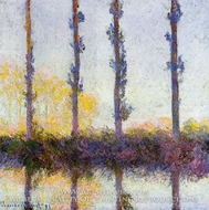 Four Poplar Trees painting reproduction, Claude Monet