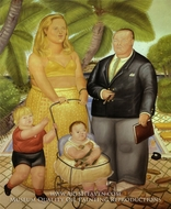 Frank Lloyd and His Family in Paradise Island by Fernando Botero