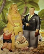 Frank Lloyd and His Family in Paradise Island painting reproduction, Fernando Botero