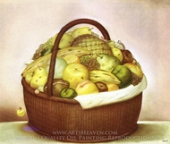 Fruit Basket painting reproduction, Fernando Botero