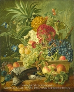 Fruit, Flowers and Dead Birds painting reproduction, Wybrand Hendriks