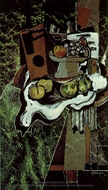 Fruit on a Tablecloth with a Fruitdish painting reproduction, Georges Braque