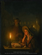 Fruit Sellers by the Light of a Paraffin Lamp painting reproduction, Petrus van Schendel