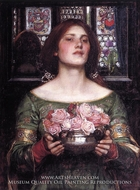 Gather Ye Rosebuds While Ye May painting reproduction, John William Waterhouse