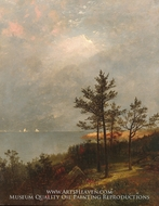Gathering Storm on Long Island Sound painting reproduction, John Frederick Kensett