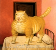 Gato painting reproduction, Fernando Botero