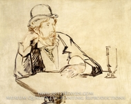 George Moore at the Cafe painting reproduction, Edouard Manet