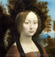 Ginevra de Benci painting reproduction, Leonardo Da Vinci