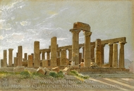 Girgenti (The Temple of Juno Lacinia at Agrigentum) painting reproduction, William Stanley Haseltine