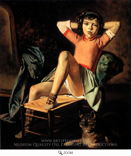 Painting Reproduction of Girl and Cat, Balthus