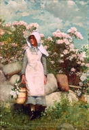 Girl and Laurel painting reproduction, Winslow Homer