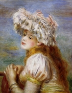 Girl in a Lace Hat painting reproduction, Pierre-Auguste Renoir