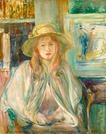 Girl in Straw Hat painting reproduction, Berthe Morisot