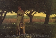 Girl in the Orchard painting reproduction, Winslow Homer