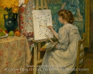 Girl Painting at an Easel painting reproduction, Georges D'Espagnat