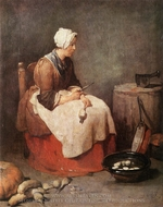 Girl Peeling Vegetables (The Kitchen Maid) painting reproduction, Jean Simeon Chardin