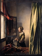 Girl Reading a Letter at an Open Window painting reproduction, Jan Vermeer