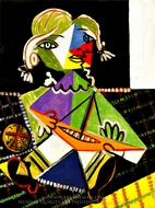 Girl with a Boat (Maya Picasso) painting reproduction, Pablo Picasso (inspired by)