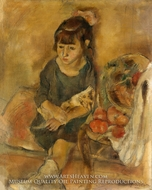 Girl with a Kitten painting reproduction, Jules Pascin