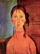 Girl with Braids painting reproduction, Amedeo Modigliani