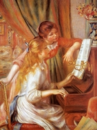 Girls at the Piano (Jeunes Filles au Piano) painting reproduction, Pierre-Auguste Renoir