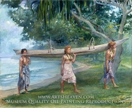 Girls Carrying a Canoe, Vaiala in Samoa by John La Farge