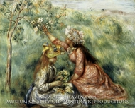 Girls Picking Flowers in a Meadow by Pierre-Auguste Renoir