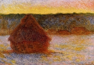 Grainstack at Sunset, Winter painting reproduction, Claude Monet