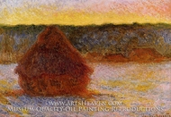 Grainstack at Sunset, Winter by Claude Monet