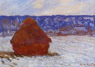 Grainstack in Overcast Weather, Snow Effect by Claude Monet
