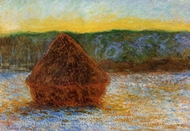 Grainstack, Thaw, Sunset painting reproduction, Claude Monet