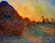 Grainstacks painting reproduction, Claude Monet