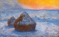 Grainstacks at Sunset, Snow Effect painting reproduction, Claude Monet