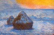 Grainstacks at Sunset, Snow Effect by Claude Monet