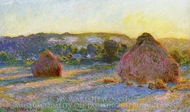 Grainstacks at the End of Summer, Evening Effect painting reproduction, Claude Monet