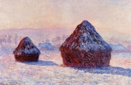 Grainstacks in the Morning, Snow Effect painting reproduction, Claude Monet