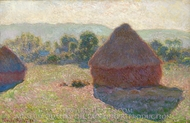 Grainstacks in the Sunlight, Midday painting reproduction, Claude Monet