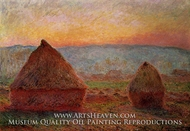 Grainstacks, Sunset by Claude Monet