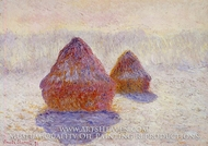 Grainstacks, White Frost Effect by Claude Monet