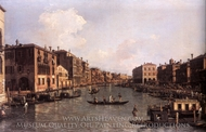 Grand Canal: Looking South-East from the Campo S. Sofia to the Rialto Bridge painting reproduction, Canaletto