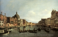 Grand Canal: Looking South-West from the Chiesa degli Scalzi to the Fondamentta della Croce, with S. Simeone Piccolo painting reproduction, Canaletto