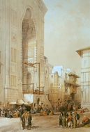 Grand Entrance to the Mosque of the Sultan Hassan painting reproduction, David Roberts