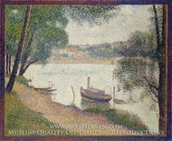 Gray Weather, Grande Jatte painting reproduction, Georges Seurat