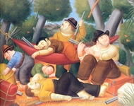 Guerrillas painting reproduction, Fernando Botero