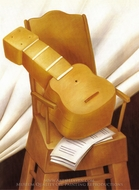 Guitar and Chair painting reproduction, Fernando Botero